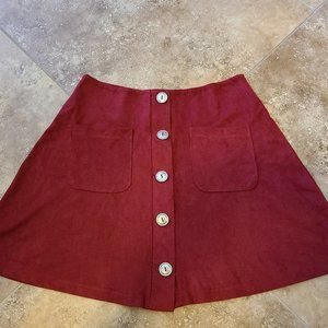 Fashion Nova Suede Mini Skirt in Burgundy